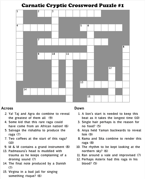 Carnatic Cryptic Crossword #
