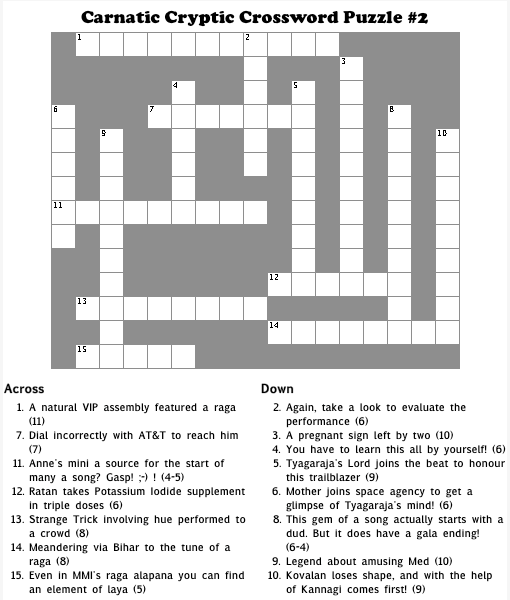 Carnatic Cryptic Crossword Puzzle #2