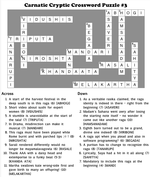 Solution to Carnatic Crossword Puzzle #3