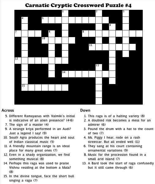 Carnatic Cryptic Crossword #4