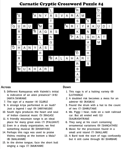 Solution To Carnatic Cryptic Crossword Puzzle 4