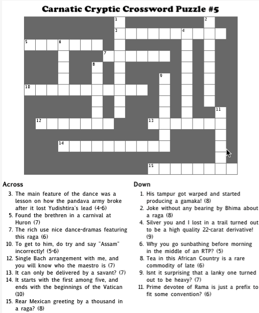 Carnatic Cryptic Crossword #5