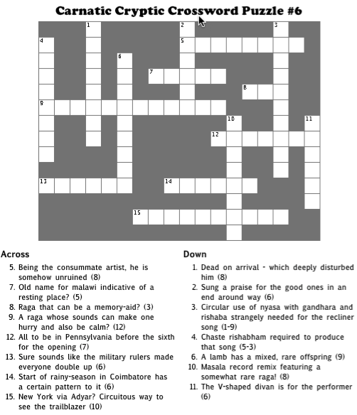 Carnatic Cryptic Crossword #6